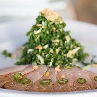 Yellowtail Sashimi with kale salad