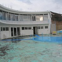 View of warm pool, hot pool and the building