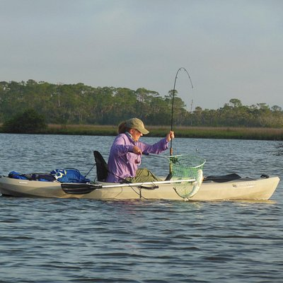 Redfish from a kayak on Spruce Creek with Salty Dawg- awesome!