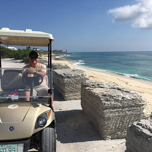 Great driving around the island in these gold buggies