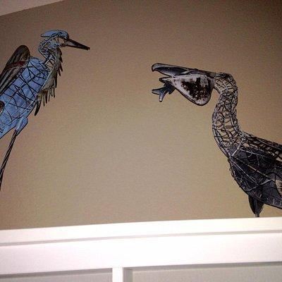 Wire sculptures - egret & pelican