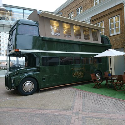 London Transport Press Bus at Design Centre, Chelsea Harbour