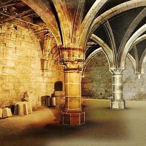 Cellier du XIIIe siècle en cours de restauration.