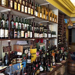 Shelves with mostly booze