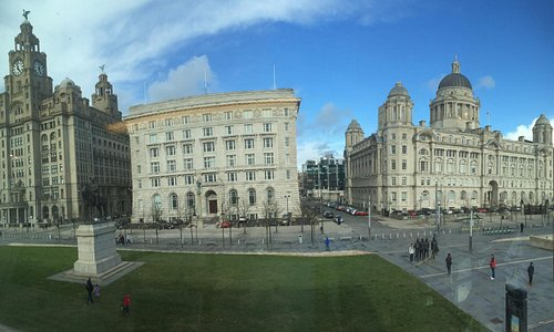 Pier Head site - a view of The Three Graces from the site