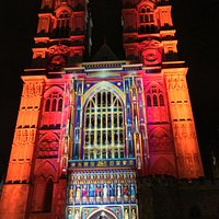 Westminster Abbey during Lumiere