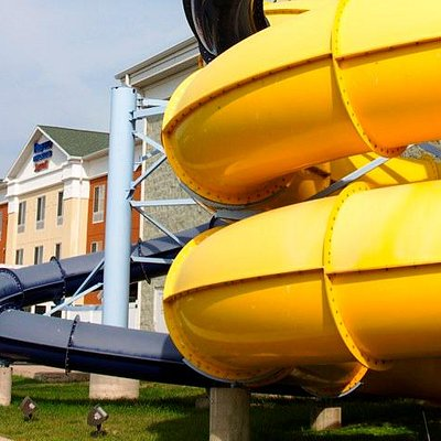 Twirl and whirl on two extreme slides that funnel outside of the park landing you back inside wi