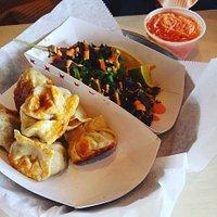 Potstickers, Bulgogi Taco, and Kimchi Slaw