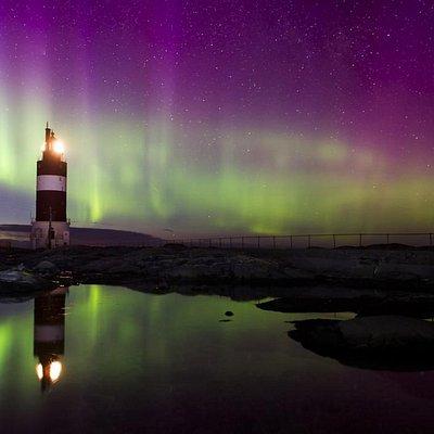 Veiholmen Light Hauggjegla in the Northern Light