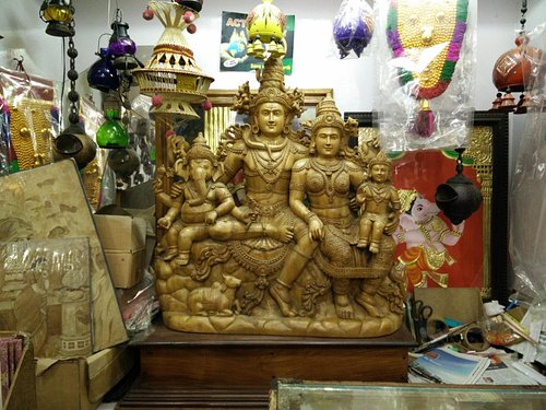"""Lord """" Shiva Family """" (single peace of wooden carving)"""