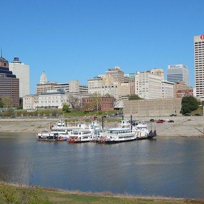on Mud Island looking towards downtown Memphis