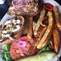 Grilled chicken sandwich with spicy fries