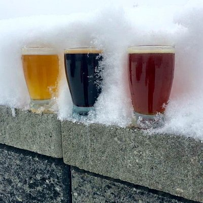 Three beers in the snow