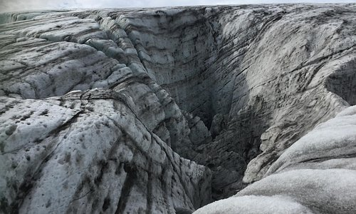 a large crevasse in the glacier