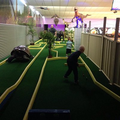 At the end of the putt putt there is a room with backlights- the kids loved it! The Jurassic cou