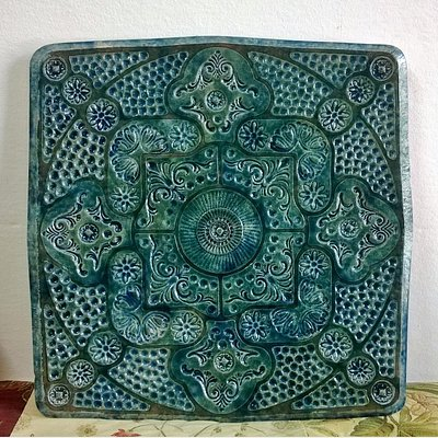 Decorative platter, 50x50 cm, emerald green glaze with shades of blue