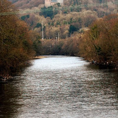 View down the taff from the old iron bridge towards Castell Coch