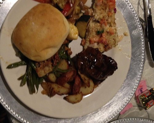 Our meal-steak, fish, lots of veggies and a roll