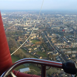 Oxford from on high in a hot air balloon.
