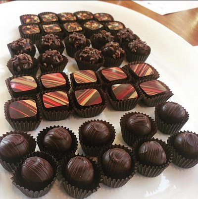 Rows and rows of chocolates.