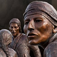 This is a photo of the bronze Tuscarora Heroes Monument in Lewiston, New York.
