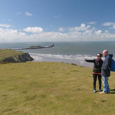 Surveying the land with The Worm's Head in the background.