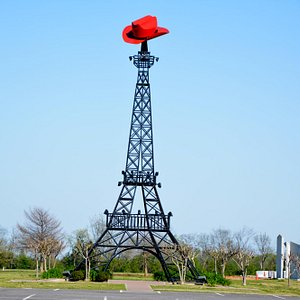 Eiffel tower with red hat