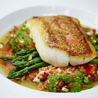 Pan fried redfish with risotto, tomato vinaigrette and asparagus
