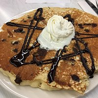 Cafe western omelette and the special Black Forest pancakes