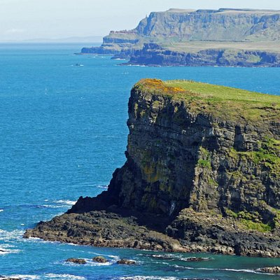 Giant's Causeway in far distance (2nd headland in photo).