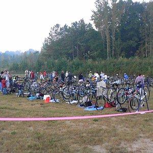 Triathlon bike staging area