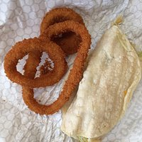 Great onion rings and OK fish tacos