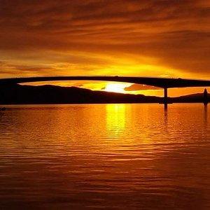 Sunset through the Skye Bridge