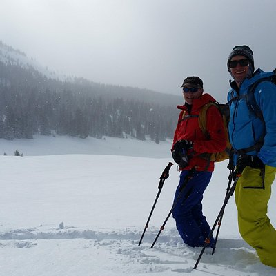 Father and son ski touring on Vail Pass