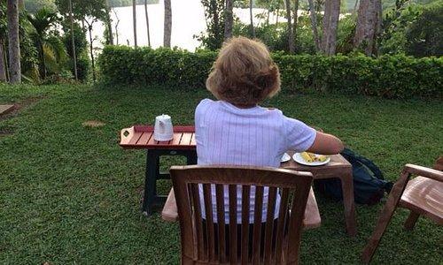 Enjoying afternoon tea before our lagoon safari