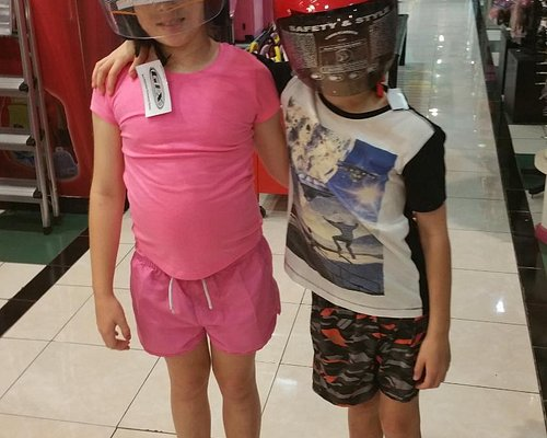 Hardy's department store on top level. Kids helmets for sale.