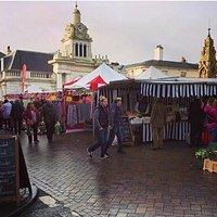 Saffron Walden market on a January Saturday