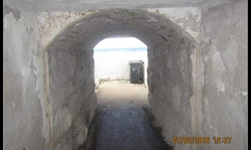 Entrance to tidal pool under the railway line