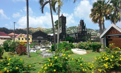 view of St. Mary's from the Anglican Church yard- Kingstown, SVG