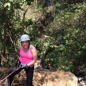 """Rappelling in """"La Rinconada"""" waterfall"""
