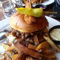 Beer Braised Pulled Pork sandwich which included Duck Fat fries