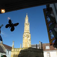 This is from inside the gallery and looks over the beautiful Market Cross in the centre of town.