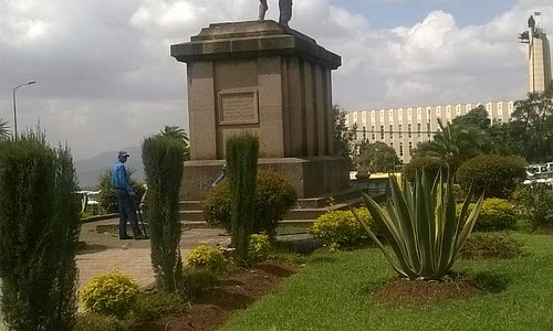 Statute of Menelik II at the centre of the Square