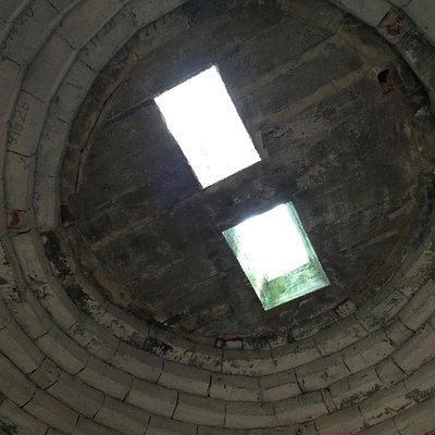 Looking upward to the top of the dome. Bricks are handmade.