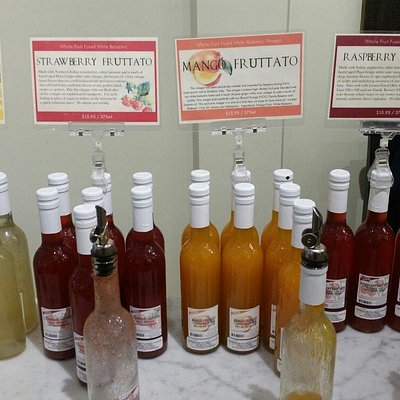 This is the current selection of the new line of fruit and white balsamic vinegar creations, Fru