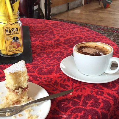 Lovely coffee and cake at The Loft Cafe at the Victoria Mill Antiques Centre
