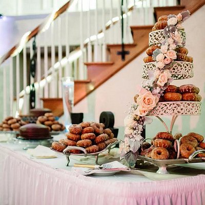 Our daughter and son in law's wedding cake using Apple Hill Doughnuts...amazing!
