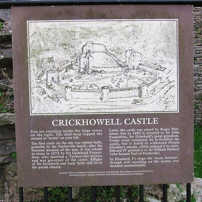 The sign giving some history on Crickhowell Castle (28/Apr/16).