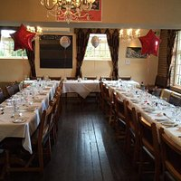Tables set out for 33 guests