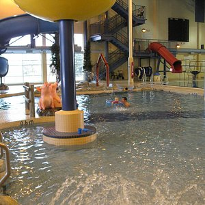 Great view of the inside of the pool area for children and adults.